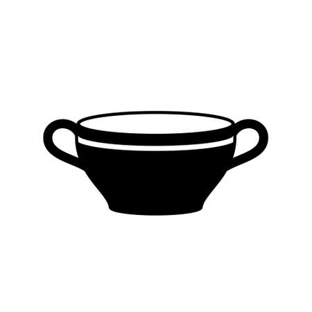 Tureen or soup bowl silhouette icon. Outline deep plate with two handles. Black simple illustration of dish for liquid food, porridge, broth. Flat isolated vector pictogram on white background