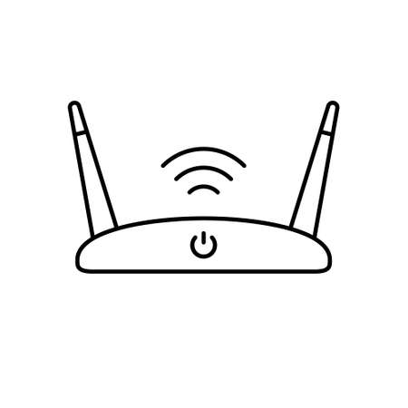 Wi Fi router. Linear icon of device for wireless internet. Black simple illustration. Contour isolated vector pictogram on white background