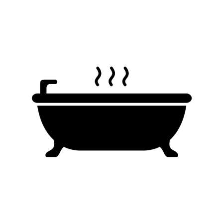 Silhouette bathtub on legs. Outline icon of take hot bath. Black simple illustration of relaxation in bathroom, ceramic sanitary ware. Flat isolated vector pictogram on white background