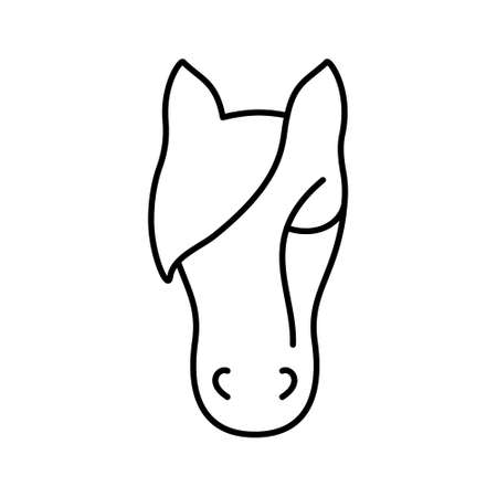 Linear icon of animal head. Black simple illustration of cattle, farming. Stylized symbol for stable. Contour isolated vector pictogram on white background
