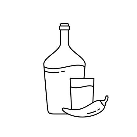 Horilka. Linear icon of Traditional Ukrainian vodka or moonshine. Black simple illustration of bottle, glass, chili pepper. Contour isolated vector pictogram on white background