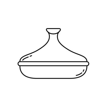 Tagine. Linear icon of ceramic pot with lid. Black simple illustration of special Moroccan cookware. Contour isolated vector pictogram on white background