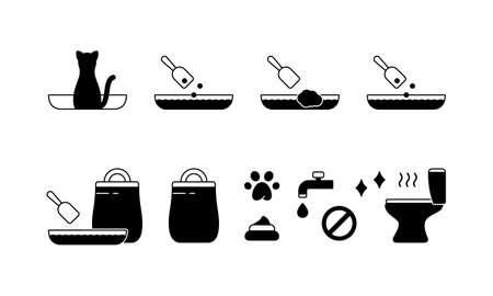 Set icons for cat litter with basic instruction. Silhouette pictogram of toilet, tray, scoop, pet, poop, stench, paw, bag. Black simple illustration for packaging design. Outline isolated vector
