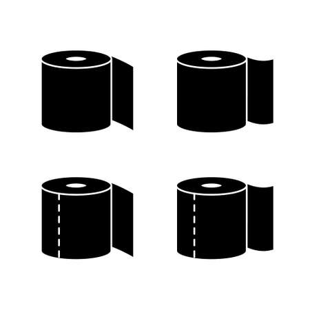 Silhouette Toilet paper. Outline icons set of toilet roll with and without perforation. Black simple illustration. Flat isolated vector pictogram on white background Иллюстрация