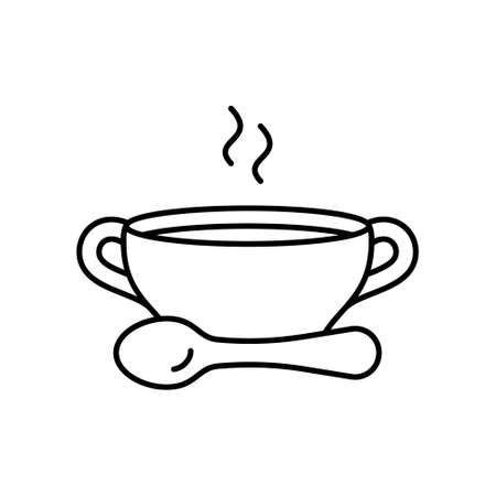 Bouillon. Linear icon of bowl with spoon and hot food. Black simple illustration of broth or clear soup for eatery menu. Contour isolated vector pictogram on white background