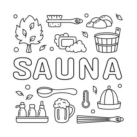 Contour square sauna poster. Graphic template for label, bag print, banner. Black linear illustration. Lettering and isolated vector icons set. Wooden tub, ladle, hat, broom, brush, soap, leaves