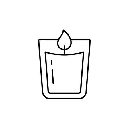 Candle in glass. Linear icon of aromatic accessory for cozy home, spa salon. Black simple illustration of aromatherapy, homeliness. Contour isolated vector pictogram on white background