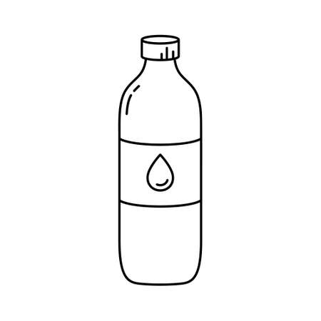 Bottle of water or oil. Linear icon of plastic container for liquid with lid. Black simple illustration. Contour isolated vector pictogram on white background Illusztráció