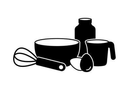 Preparation of pancake batter. Horizontal silhouette pictogram of cooking, basic set. Bowl, whisk, milk, eggs, measuring cup. Black illustration for food packaging design. Outline isolated vector