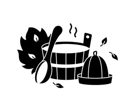 Bathhouse or sauna silhouette emblem. Bath tools for Russian banya. Black cutout illustration of wooden tub, ladle, spoon, hat, broom, leaves, hot steam. Outline isolated vector icon, white background