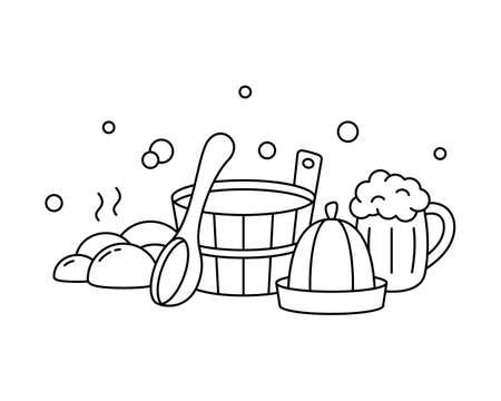 Sauna, Russian banya, bathhouse, linear label. Bath tools. Black horizontal illustration of wooden tub, ladle, hat, hot stones, beer mug, soap bubbles. Contour isolated vector emblem, white background