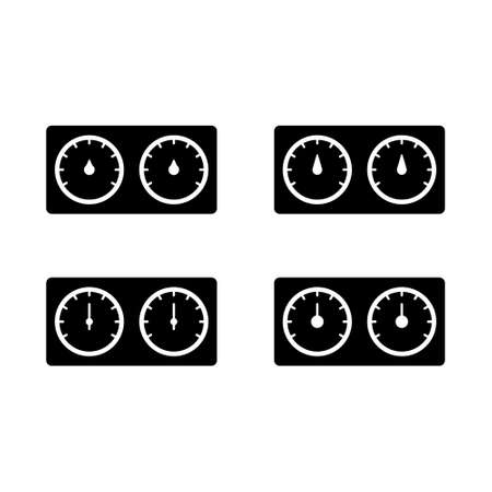Hygrometer with two dials, silhouette icons set. Outline pictogram of bath thermohygrometer. Black simple illustration of special device for measuring air humidity, temperature. Flat isolated vector Illusztráció