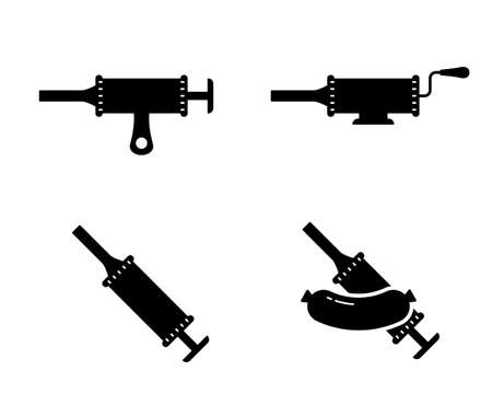 Sausage stuffer. Silhouette icons set. Black simple illustration of filling machine or manual syringe for cooking homemade meat food. Outline isolated vector pictogram on white background Illusztráció