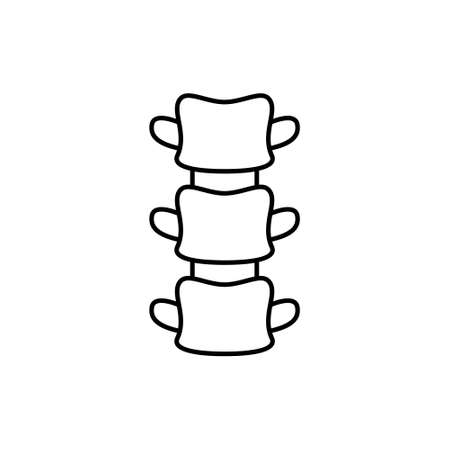 Spine. Linear icon of human backbone. Black simple illustration of three vertebrae. Contour isolated vector pictogram on white background