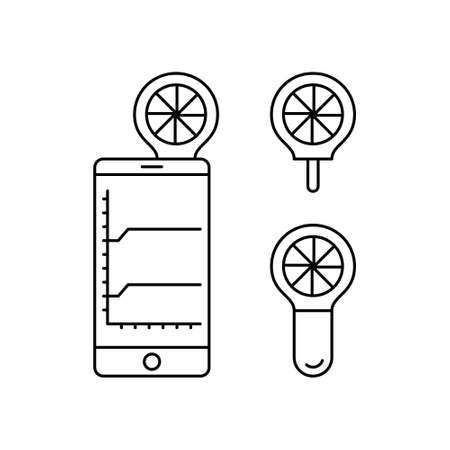 Mobile peak flow meter. Linear icons set of digital spirometer for smartphone. Black simple illustration of electronic asthma medical device. Contour isolated vector pictogram, white background Illusztráció