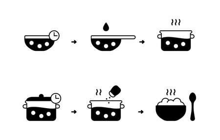 Chickpeas cooking instruction. Preparation of bean or peas. Silhouette black icon for packaging design. Soak, rinse, boil, salt. Outline isolated vector pictogram, white background