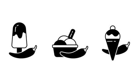 Chilli ice cream silhouette. Outline icons set of spicy dessert. Black simple illustration of chili pepper, waffle cone and cup of scoops. Isolated vector pictogram, white background