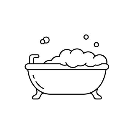 Bubble bath. Linear icon of bathtub on legs with lather. Black simple illustration of bathroom, hygiene, cleanliness of body. Contour isolated vector pictogram on white background
