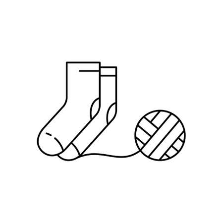 Pair of knitted socks with ball of thread. Linear icon of knitwork. Black simple illustration of handmade, knitting. Contour isolated vector pictogram, white background