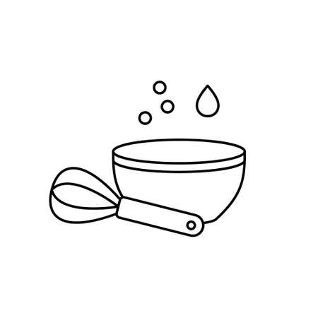Mix or whip food ingredients. Linear icon of bowl and whisk. Black simple illustration of cooking of batter, dough. Contour isolated vector pictogram on white background