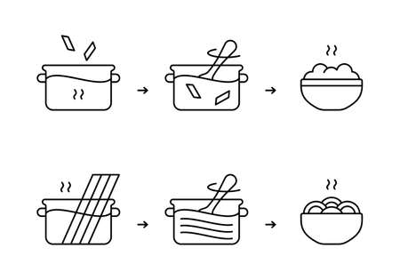 Pasta and spaghetti cooking instruction. Black linear icon. Preparation of product for packaging design. Boil in saucepan, stir, ready meal. Contour isolated vector pictogram, white background
