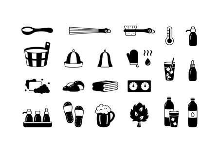 Spa sauna, silhouette icons set. Outline pictogram of classic bath tools, banya accessory. Black illustration of wooden tub, ladle, hat, broom, beer mug, brush, soap, slippers. Cutout isolated vector Illusztráció