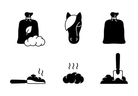 Horse dung silhouette icons set. Outline bag, scoop, shovel, pile. Black illustration of organic manure, plant fertilizer for agriculture, farming. Flat isolated vector pictogram on white background