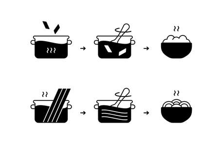 Preparation of pasta or spaghetti. Product instruction for packaging design. Black silhouette icon. Cook in saucepan, stir, ready meal. Outline isolated vector pictogram, white background