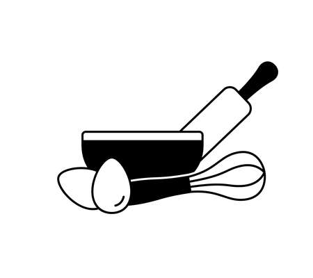 Outline emblem of kitchen utensils for making bakery products, pie, cake or pastries. Bowl, rolling pin, whisk, chicken eggs. Basic icon of cooking dough. Black silhouette vector, isolated pictogram Illusztráció