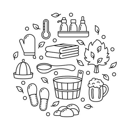 Sauna or bath set, graphic round template for spa emblem, label, print, poster. Black line art illustration of wooden tub, ladle, hat, broom, beer mug, brush. Contour isolated vector, white background Illusztráció