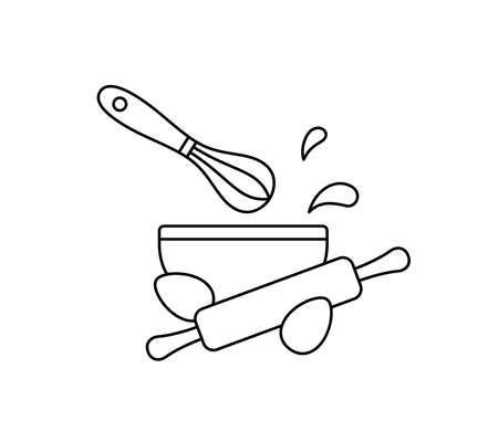 Making cake dough. Cooking contour emblem. Bowl, kitchen whisk, rolling pin, chicken eggs, splash or drops. Line art simple icon for packaging design. Black isolated vector pictogram, white background