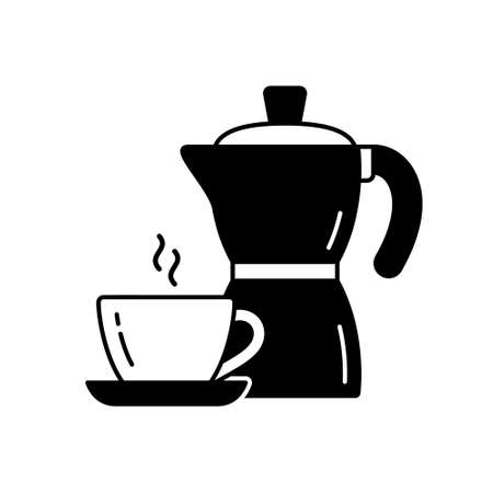 Geyser coffee maker for one dose of espresso. Outline icon of pot, cup with hot drink. Black simple illustration for packaging design. Silhouette isolated vector pictogram, white background