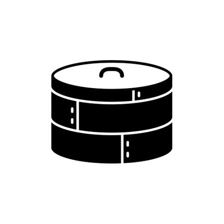 Bamboo steamer. Silhouette icon of special chinese kitchen utensil. Two basket with lid. Black simple illustration. Flat isolated vector pictogram on white background Vector Illustratie