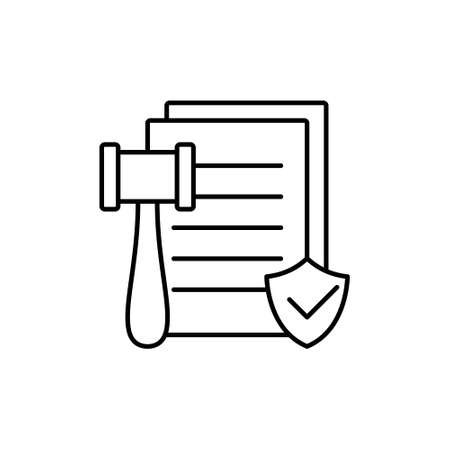 Code of conduct or passing laws. Linear icon of bill, judgment. Black simple illustration of document with gavel. Contour isolated vector pictogram on white background