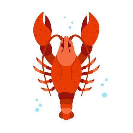 Lobster character. Stylized red crayfish with large claws. Cartoon hand drawn illustration of cute ocean animal. Childish t shirt print, poster. Flat isolated vector clipart, white background
