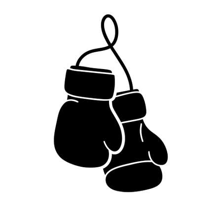 Pair of boxing gloves on string. Silhouette doodle icon. Hand drawn simple illustration of attribute for sport. Black isolated vector pictogram on white background Vetores