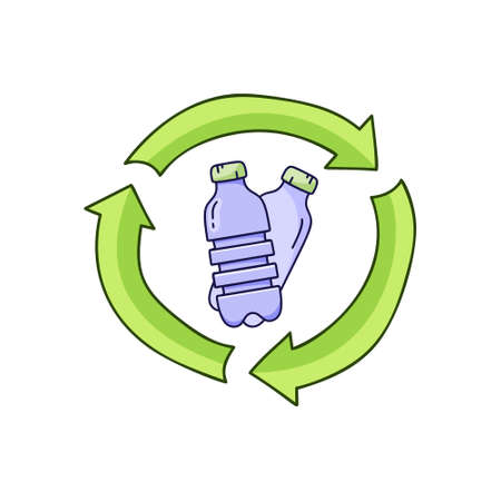 Plastic bottles in recycle sign. Color doodle icon. Hand drawn simple illustration of garbage recycling, bio degradable packaging. Color isolated vector pictogram on white background