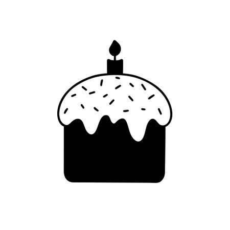 Easter cake with candle silhouette icon. Hand drawn simple illustration of traditional festive dessert. Black isolated vector pictogram on white background