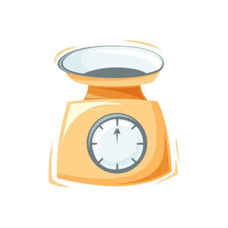 Kitchen scale. Stylized kitchenware. Cartoon flat illustration. Color isolated vector element on white background