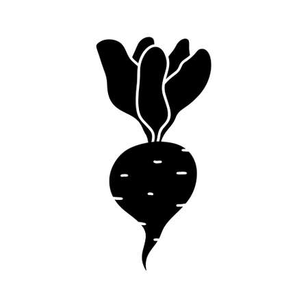 Beet with greens silhouette icon. Hand drawn simple illustration of beetroot with leaves. Black isolated vector pictogram on white background