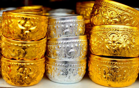 singing bowls: Silver and golden  bowl