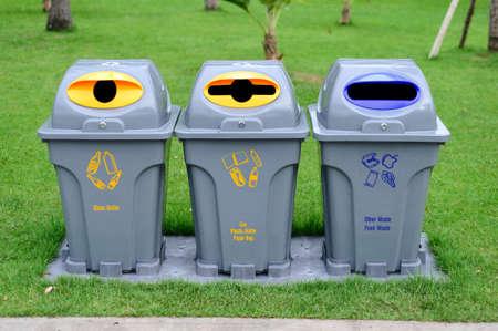 segregation: three trash bin for waste segregation