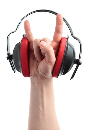 anti noise: headphones and hand