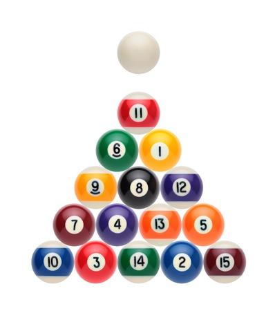poolball: Billiard balls on a white background