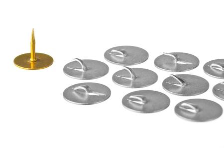 idolatry: Golden thumbtack at the head troop of iron thumbtacks
