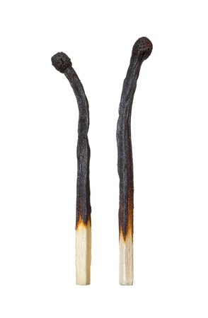Two burned matches turned away from each other  The Symbol of the divorce Stock Photo - 18397518