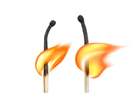 Burning matches on a white background  Symbol of human relationships Stock Photo - 18397512