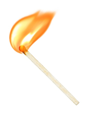 wood burning: burning match on a white background Stock Photo