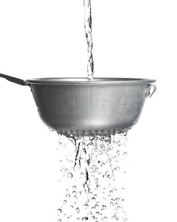 bolter: Water poured through a strainer