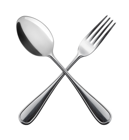 Flatware on white background  Fork and spoon
